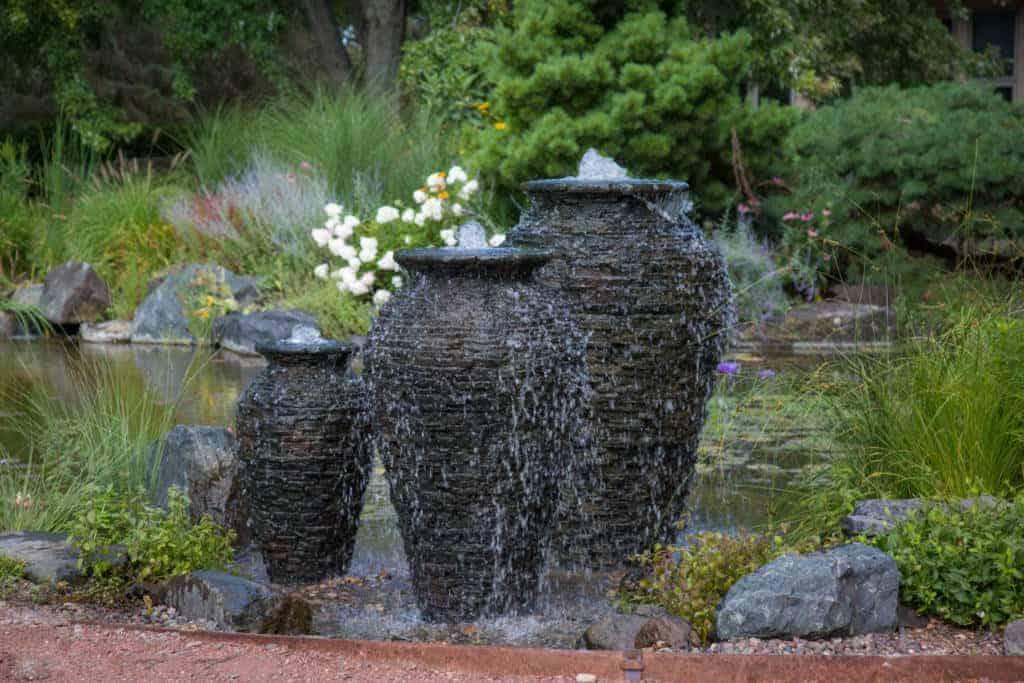 stacked slate urn