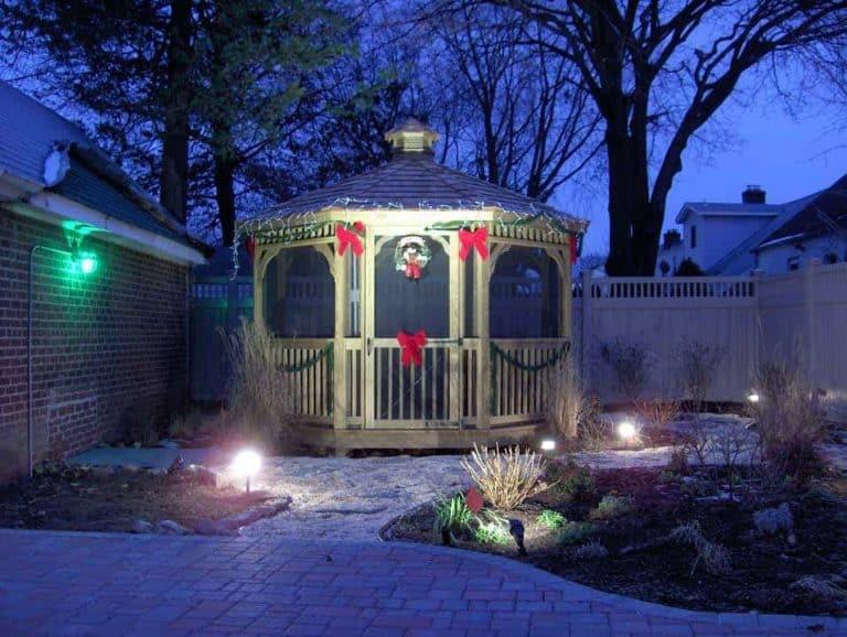 lighted backyard gazebo