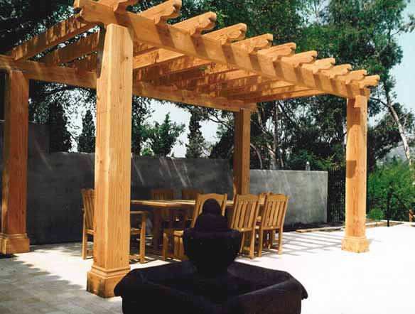 lite stained wood pergola