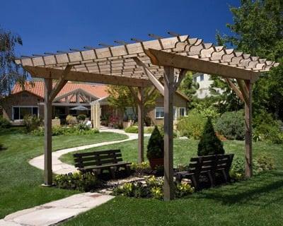 natural wood pergolas